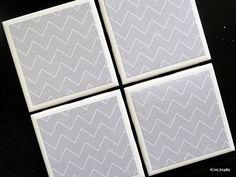 Gray Chevron Coasters Tile Coaster Tile Coasters by KimLKrafts