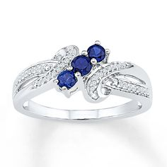 Lab-Created Sapphires 1/15 ct tw Diamonds 10K White Gold Ring