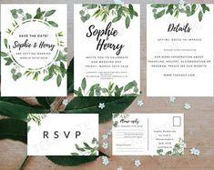 greenery wedding invite download