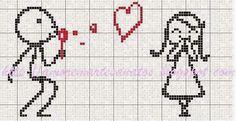 Hobby lavori femminili - ricamo - uncinetto - maglia: schema punto croce cuscino uomo amore