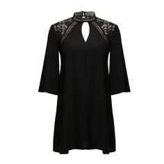 The Dark Side Dress features lace shoulders and high collar, and a flared silhouette.