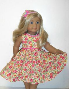 Summer Floral  Dress with Pearl Necklace and Decorative Hair Band- American Girl Doll Clothes via Etsy