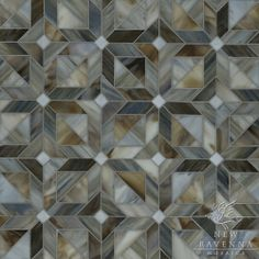 Rubrik, a jewel glass waterjet mosaic shown in Pearl, Schist, and Lavastone, is part of the Parquet Line by Sara Baldwin for New Ravenna Mosaics.  Copyright New Ravenna Mosaics 2012