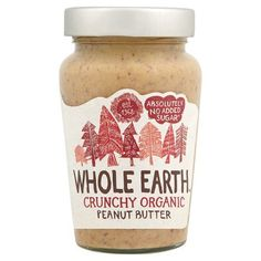 Crunchy Organic Peanut Butter with No Added Sugar Certified Carbon Neutral company British triathlon official supplier Organic Peanut Butter, Best Peanut Butter, Organic Meat, Whole Earth, Nutella, Sugar, Food, Toast, Uk Deals