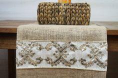 Elegant Burlap Table Runner, Ivory Trim with Gold Sequins, Bureau Scarf, Custom Length Available