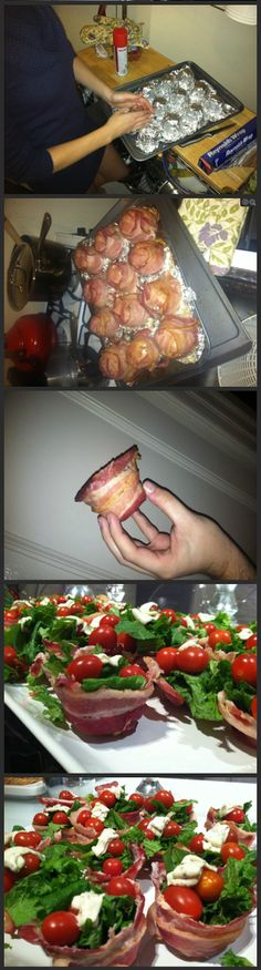 BLT using bacon cups