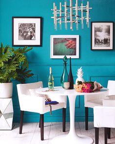 Turquoise walls & white furniture