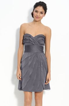 Bridesmaid dress Adrianna Papell Tiered Iridescent Chiffon Dress available at Cute Bridesmaid Dresses, Grey Bridesmaids, Cute Dresses, Beautiful Dresses, Prom Dresses, Wedding Dresses, Grey Prom Dress, Strapless Dress Formal, Dress Up