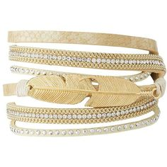 Charlotte Russe Embellished Feather Wrap Bracelet (235 RUB) ❤ liked on Polyvore featuring jewelry, bracelets, gold, charm jewelry, charlotte russe, feather bangle, layered jewelry and feather charm