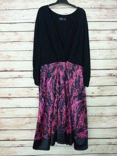 IGIGI faux wrap dress midi womens size 26 / 28 black pink floral long sleeve #IGIGI #WrapDress #Casual