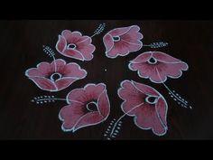 Simple// and easy flower design Rangoli dot's. Simple// and easy flower design Rangoli Rangoli Designs Latest, Simple Rangoli Designs Images, Rangoli Designs Flower, Rangoli Border Designs, Rangoli Designs Diwali, Rangoli Designs With Dots, Rangoli With Dots, Flower Rangoli, Beautiful Rangoli Designs
