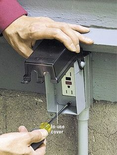 home repairs,home maintenance,home remodeling,home renovation Outdoor Electrical Outlet, Outdoor Outlet, Home Electrical Wiring, Electrical Projects, Electrical Outlets, Electrical Inspection, Electrical Code, Installing Electrical Outlet, Electrical Switches