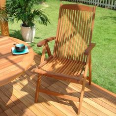 Eucalyptus Folding Reclining Arm Chair with Vertical Slats - Natural