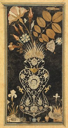 Vase, Insects, and Birds !630–40  India, Bijapur. Gouache on black paper with colored and white decoupage. Deccan, Islamic