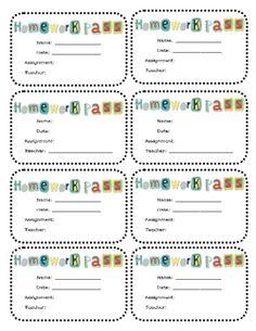 homework pass printable any subject or grade