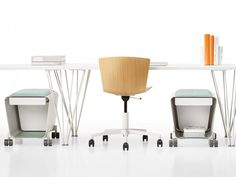 Ebb Mobile Pedestals, Slam Task Chair, and Marquette Tables by Leland International