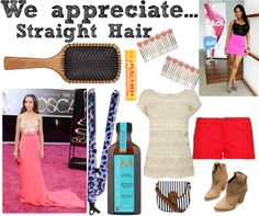 """Hair Style Appreciation Day: Straight Hair"" by chargemagazine on Polyvore"