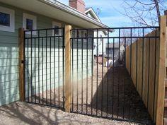 iron and wood fence Outdoor Dog Runs, Rod Iron Fences, Backyard Makeover, Outdoor Living Areas, New Builds, Wrought Iron, Outdoor Ideas, Backyard Ideas, Garden Ideas