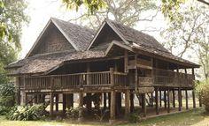 บ้านล้านนา - ค้นหาด้วย Google Timber Frame Homes, Timber House, Thai House, Post And Beam, Log Homes, Beams, House Plans, Exterior, Architecture