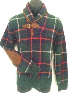 Polo Ralph Lauren Tartan Plaid Shawl Sweater Leather M Classic Fit RRL Rugby