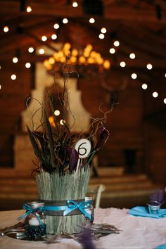 Tall wheat centerpieces - too cute for a rustic wedding! {Tyler + Lindsey}
