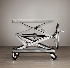 Tables - Industrial Scissor Lift Table I Restoration Hardware - industrial scissor lift table, polished stainless steel industrial style side table, polished stainless steel crank side table,
