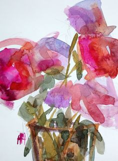 Pink Peonies no. 17 Original Watercolor Painting by Angela Moulton