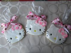 Hello kitty cookies with fondant, I made these for a little girls birthday.