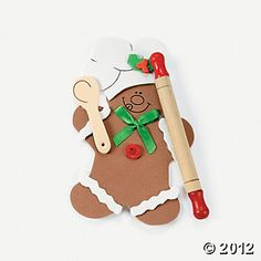 Gingerbread Man Rolling Pin Ornament Craft Kit Could out everyone's name on it and the year? As a yearly ornament? Gingerbread Ornaments, Christmas Ornament Crafts, Gingerbread Man, Gingerbread Cookies, All Craft, Oriental Trading, Craft Kits, Rolling Pin, Holidays And Events