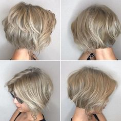 Ash Blonde Bob with Dimensional Layers The layers you cut can be enhanced by any color of highlights you put in your hair. The pictures below show a perfect example of this, as the ash blonde color lightens and darkens in sync with the finely cut layers. Wavy Layered Hair, Layered Bob Short, Layered Bobs, Short Layered Haircuts, Short Hair With Layers, Short Hair Cuts, Short Hair Styles, Thick Hair, Hair Layers