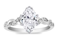 Marquise Diamond Petite twisted pave band Engagement Ring in 14K White Gold