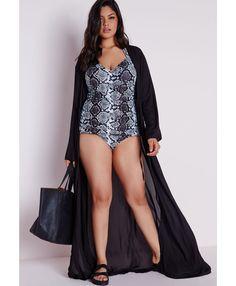 Plus Size Maxi Chiffon Kimono Black - Plus Size Tops - Women's plus size - Missguided +