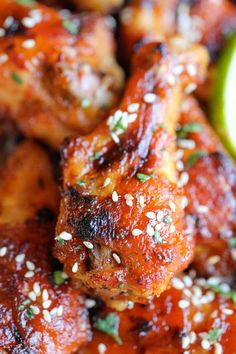 Baked Honey Sriracha Wings ~ An amazing combination of sweetness and spiciness in every bite, and they're baked to crisp perfection!