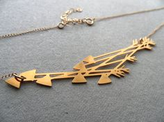 Flying Arrows golden pendant necklace / Wild by WildThingStudio, $58.00