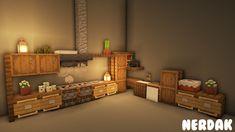 Minecraft Cute Kitchen Design (Tutorial Video in comments) Minecraft Bauwerke, Minecraft Kitchen Ideas, Minecraft House Plans, Minecraft Cottage, Minecraft Mansion, Cute Minecraft Houses, Minecraft House Tutorials, Minecraft House Designs, Amazing Minecraft