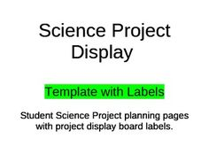 This is a 12 page packet that makes planning and completing a science project much easier for all students. The packet includes planning pages for each component of a project and labels needed for the project display board.* Perfect strategy for teaching students how to do a SCIENCE PROJECT one component at a time!