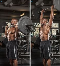 bodybuilder doing barbell overhead press