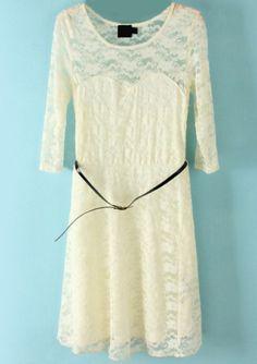 White Half Sleeve Belt Lace Skater Dress