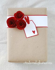 Creations by Kara: Rolled Paper Roses {Tutorial} - Cute Valentines Day Gifts, My Funny Valentine, Creative Gift Wrapping, Creative Gifts, Wrapping Ideas, Wrapping Gifts, Handmade Christmas Tree, Christmas Gift Wrapping, Paper Roses Tutorial
