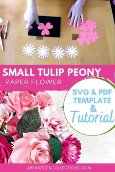 Tulip Peony paper flowers. SVG files & PDF templates with video tutorial links. Perfect for weddings, bouquets, crafts, card making and more! #papercrafts #cricut #svg Paper Flowers Craft, Flower Crafts, Diy Flowers, Paper Crafts, Leaf Template, Flower Template, Flower Svg, Giant Paper Flowers, Cricut