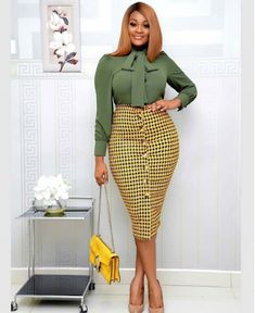 Stylish Work Outfit: Business Casual Work Wear for the Ladies - African Fashion Styles Casual Work Wear, Stylish Work Outfits, Chic Outfits, Dress Outfits, Fashion Outfits, Fashionable Outfits, Fashion Clothes, Fashion Styles, Office Dresses For Women