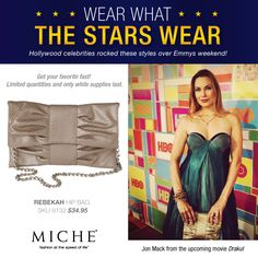 Wear What the Stars Wear -- Miche! Jon Mack from the movie Drakul with a Miche Hip Bag. Get yours for a limited time. #handbags #miche #celebrity #emmys