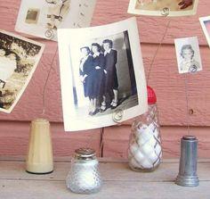 Salt shaker photo holders. Brilliant!