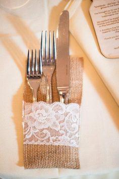 9 fresh burlap decor  ideas: Try a burlap silverware holder for your wedding reception.
