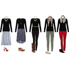 """""""Spice up a black sweater"""" by hii-live on Polyvore.  Love the various looks with different scarves and necklaces."""