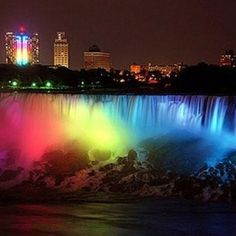 Niagra Falls becomes a rainbow to celebrate marriage!