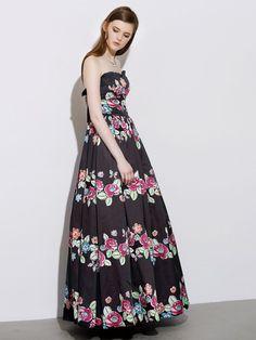 Black,Ruffle,Bandeau,Floral Print,Tie Back,Empire,Maxi Dress