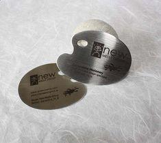 metal steel business cards