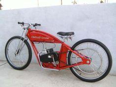 Custom Bicycle Using an EZ Motorbike Kit Moped Motor, Moped Scooter, Cruiser Bicycle, Motorized Bicycle, Gas Powered Bicycle, Bicycle Engine, Motorised Bike, Push Bikes, Chopper Bike