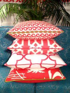 - Palm Beach - Hibiscus Pinks -  Beach Pillows   Coastal Pillows